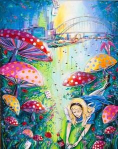 Alice in Wonderland mushroom art Alice In Wonderland Mushroom, Alice In Wonderland 1951, Doodle 2, Mushroom Art, Craft Quotes, Mural Painting, Through The Looking Glass, Psychedelic Art, Illustrators