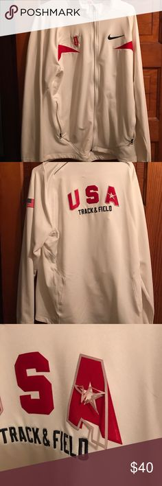 """2008 US Olympic Team track jacket Size Large very clean and new, stitching on """"A"""" is coming off Nike Jackets & Coats Lightweight & Shirt Jackets"""