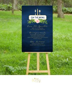 $35 on ETSY | The JULIE . Menu Wedding Sign or Table Menu . Navy Chalkboard & Gold Calligraphy . Blush Rose Dahlias Peonies . fork knife spoon  PDF by BuffyWeddings on Etsy