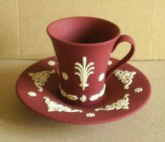 Wedgwood Jasperware Wine Crimson Cup & Saucer #Wedgwood