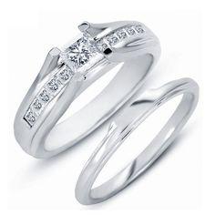 925 Silver 14K White Gold Filled Princess Cut D/VVS1 Diamond Women's Bridal Set…