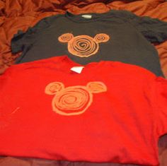 Disney DIY Shirts. Draw Mickey Silhouette with Clorox Pen.  Worked Ok, but we had to basically take a fabric paint and cover over the bleach pen marks.  We loved our T-shirts though, we mixed glow in the dark glitter with our paint and then swirled it on the shirts in the shape of Mickey's head.  We received a ton of compliments on them throughout the trip.