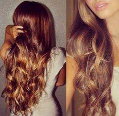 Caramel lowlights on auburn brunette hair with balayage ♥ Pinterest : Elisa Gyn