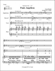 Panis Angelicus (Quartet) for Voice, Eng hrn, Hrn, Pno English Horn, Film Score, French Horn, Music Like, Classical Music, The Voice, Piano, Sheet Music, Romantic