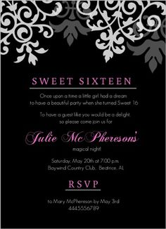Cool Black Pink Flourish Sweet Sixteen Birthday Invitation Design Of Beautiful Templates From