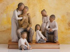 Family Groupings of Willow Tree hand-sculpted figures by Susan Lordi Willow Tree Family, Single Parent Families, Willow Tree Figurines, Father And Baby, Create A Family, Dark Skin Tone, Tree Silhouette, New Dads, Book Art