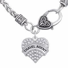 Travel Agent Heart Pendant Necklace