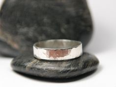 Hammered Silver Mens Ring Simple Band for Him by TorchfireStudio