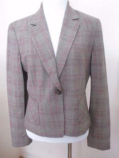 Women Elie Tahari Wool Blend Size 10P Blazer Gray Plaid 1 Button Lined 2 Pocket  #ElieTahari #Blazer