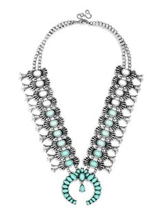 """ále by Alessandra Guest Bartender Collection.  A close-fitting collar in mint, this exotic statement features antique silver metal work and a luxe statement pendant. Necklace measures 16"""" with 2"""" extension and pendant length 0.5"""". Lobster clasp. Appearance of stones may vary."""