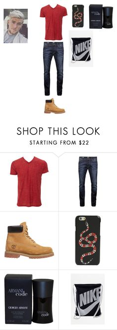 """Menś"" by malaysiasmith21 ❤ liked on Polyvore featuring Simplex Apparel, Jack & Jones, Timberland, Gucci, Giorgio Armani, NIKE, men's fashion, menswear and men"