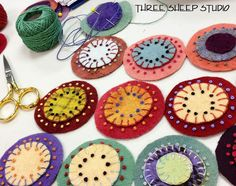 Wool Pennies embellished with French Knots - Three Sheep Studio