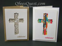 Modern Label Punch Cross Card by Qbee - Cards and Paper Crafts at… Confirmation Cards, Baptism Cards, Sympathy Cards, Greeting Cards, Easter Cards Religious, First Communion Cards, Punch Art Cards, Christian Cards, Paper Cards