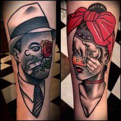 double exposure couple #tattoo
