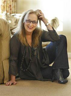 Meryl Streep in urban chic. Actress.