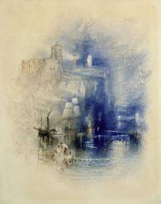 Joseph Mallord William Turner / Study for 'Light-Towers at La Hève' / c. 1844 / Watercolour and pencil on paper