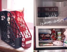 Fridge and Freezer Hacks. Use magazine holders to create freezer shelves.