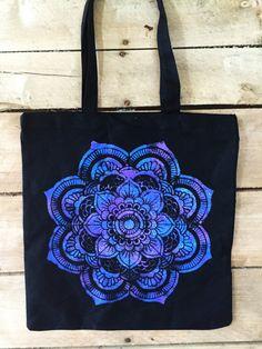 Galaxy mandala printed canvas tote -- standard medium sized bag.