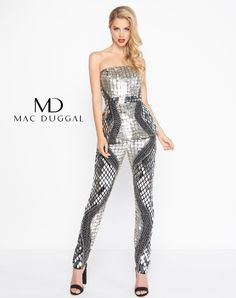 Two piece beaded strapless jumpsuit embellished with triangular cut  mirrors. From Dress   Party 3eef34e865ad