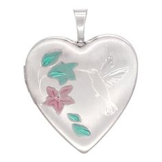 Sterling Silver Heart Locket Necklace Hummingbird 3/4 inch - http://fashion.designerjewelrygalleria.com/special-offers/sterling-silver-heart-locket-necklace-hummingbird-34-inch/