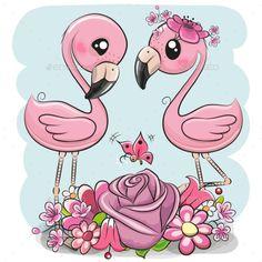Two Cartoon Flamingos on a blue background. Two Cute Cartoon Flamingos with flowers on a blue background stock illustration Disney Cartoon Characters, Disney Cartoons, Flamingo Art, Pink Flamingos, Owl Vector, Vector Free, Owl Art, Cute Cartoon Wallpapers, Background Patterns
