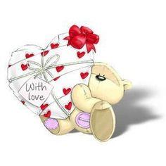 "Fizzy Moon ~ ""With Love Valentine"" Tatty Teddy, Colorful Drawings, Cute Drawings, Moon Gif, Fizzy Moon, Moon Bear, Cute Animal Illustration, Valentines Illustration, Blue Nose Friends"