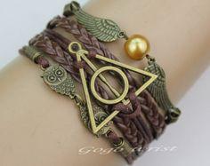 harry potter bracelet, Infinity bracelet, owl wing bracelet, gold bead bracelet, gift for girl friend,boy friend.-z189