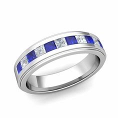 Customized channel set wedding band ring for men with your choice of princess cut diamonds or natural gemstones in or white, yellow or rose gold and platinum. Beautiful Wedding Rings, White Gold Wedding Rings, Beautiful Men, Princess Cut Rings, Princess Cut Diamonds, Wedding Men, Wedding Dress, Wedding Ring Bands, Or Rose