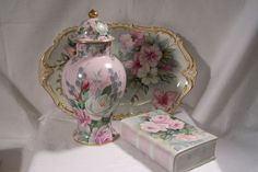 Stately Limoges France 'Paris Decorated' Covered Urn Featuring 'White & Pink (Burgundy) Garden Roses'