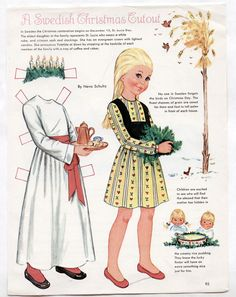 Vintage A SWEDISH CHRISTMAS paper dolls from 1968 uncut by Neva Schultz St Lucia | eBay