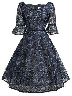 RoseGal.com - RoseGal Bell Sleeve Bowknot Lace Dress - AdoreWe.com
