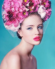 flowers #Flowers in #hair pink lips
