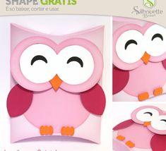 Free Studio file from Silhouette Brasil 3D DIY owl pillow box favour gift » Shape 39: Corujinha em Formato de Caixa Travesseiro - Silhouette Brasil