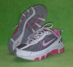 Nike T-Run Running Shoes 395832-001 Gray/White Youth Girls Size 13C GUC #Nike #Athletic