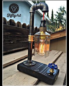 Industrial Table Lamp Jack Up-cycled Table Lamp by Fifty1st