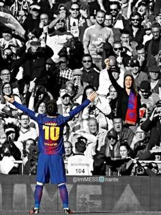 Messi Celebrates after scoring at Santiago Bernabeu. Lional Messi, Fc Barcelona, My Idol, Leo, Soccer, Baseball Cards, Celebrities, December, Marvel