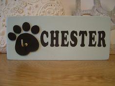 Handpainted Personalised Dog Lead Hook / Leash Hook by CraftyPupUK, £20.00