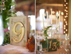 Creative table numbers for rustic wedding, photos by Sarah DiCicco Photography | junebugweddings.com