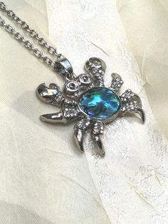 Abalone Crab Necklace Zodiac Cancer the Crab by NorthCoastCottage