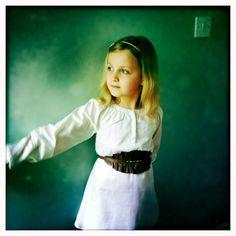 Ella Dress by Pale Cloud with sheepskin belt.