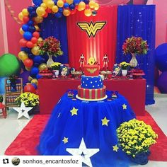 65 ideas for party people fiesta Wonder Woman Wedding, Wonder Woman Birthday, Wonder Woman Party, Birthday Woman, 21st Party, 6th Birthday Parties, Birthday Party Decorations, Superhero Birthday Cake, Avengers Birthday