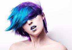 short blue and purple vibrant