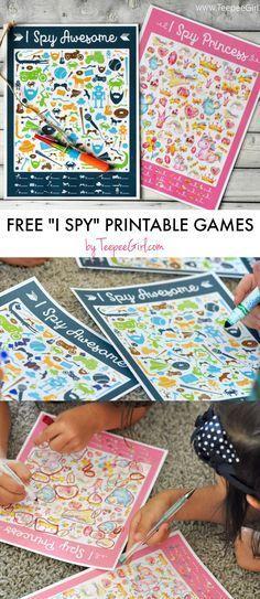 I Spy Games printables by Teepee Girl - I Spy Princess and I Spy Awesome available!