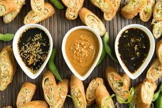 trio of easy dipping sauces are honey sesame, spicy soy and savory peanut. Sweet, spicy and savory. 3 classic flavors come together in a trio of Asian dipping sauces that showcase authentic Asian flavors for spring & egg rolls Asian Appetizers, Quick Appetizers, Chutneys, Secret Sauce Recipe, Sauce Recipes, Cooking Recipes, Cooking Tips, Sesame Sauce, Salsa Picante