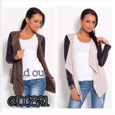 Mixed Media Cardi Mixed media Cardi with vegan leather sleeves. Made of a poly blend. Size S/M, L/XL Jackets & Coats