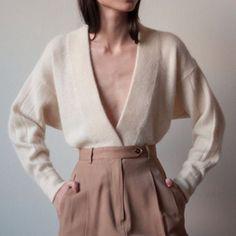 deep V sweater + high waist trousers