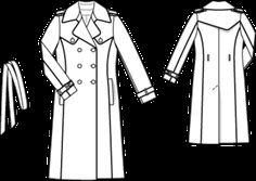 Schnittmuster: Trenchcoat - Lederpaspeln - Lange Mäntel - Mäntel - Damen - burda style