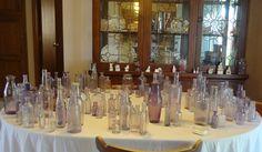 antique purple bottle collection for centerpieces