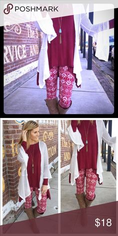 Burgundy Snowflake Leggings -OS These are super soft and comfortable leggings made of 92% polyester and 8% spandex. They come in one size and will fit up to a size 12 comfortably. There are also 2 scarves (boutique) in my closet that would go perfect with these! Infinity Raine Pants Leggings