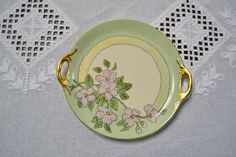 Vintage Plate Tray Green Pink Floral Design Hand by PanchosPorch